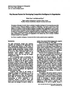 Key Success Factors for Developing Competitive Intelligence in Organisation