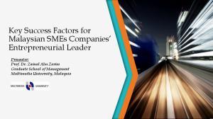 Key Success Factors for Malaysian SMEs Companies Entrepreneurial Leader
