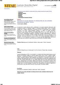 Key Word blood glucose; prediabetes; diabetes; adolescents; Tachira; Venezuela