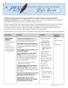 Key words(s) Standards Examples Basis and comments
