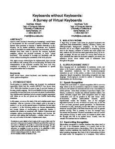 Keyboards without Keyboards: A Survey of Virtual Keyboards