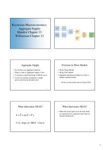 Keynesian Macroeconomics: Aggregate Supply Mankiw Chapter 13 Williamson Chapter 12