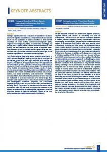 KEYNOTE ABSTRACTS WEDNESDAY. KEY007: Schizophrenia As A Cognitive Disorder: Insights From Cognitive Neuroscience