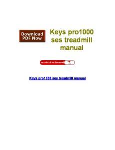 Keys pro1000 ses treadmill manual