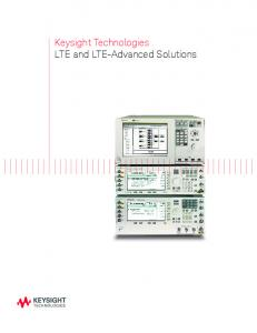 Keysight Technologies LTE and LTE-Advanced Solutions