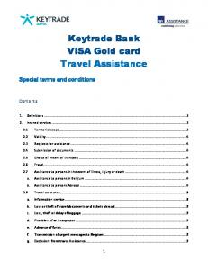 Keytrade Bank VISA Gold card Travel Assistance