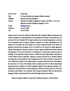 Keywords: argument ellipsis, LF copy theory, definiteness; Japanese, Turkish, Javanese