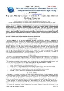 Keywords Big Data, Data Mining, Clustering, Genetic Algorithm, K Means