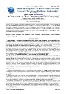 Keywords Cloud Computing, Grid Computing, Cluster Computing, Utility Computing, Service Computing, Distributed Computing