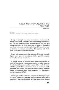 Keywords - Credit risk - Rating - Credit rating - Credit rating agency -