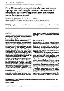 KEYWORDS: endometrial cancer; endometrial polyp; intravenous contrast; three-dimensional power Doppler angiography; transvaginal color Doppler