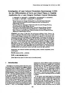 Keywords: laser induced breakdown spectroscopy, plasma, chemical composition, nerveparotid