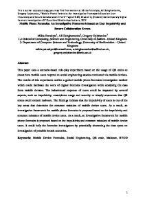 Keywords: Mobile Device Forensics, Social Engineering, QR code, Malware, BYOD