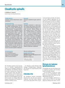 Keywords Neurogenic claudication, leg pain, spinal stenosis