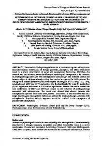 KEYWORDS: Psychological dividends, Social Skill (SSTT) Group Therapy (GTT), Psychopathology, Acute Schizophrenia, Chronic Schizophrenia