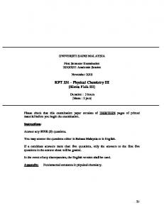 KFT 331 Physical Chemistry III [Kimia Fizik III]