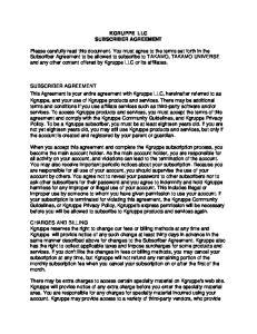 KGRUPPE LLC SUBSCRIBER AGREEMENT