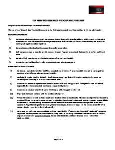 KIA MEMBER REWARDS PROGRAM GUIDELINES