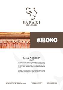Kiboko. Safari KIBOKO 6 DAYS