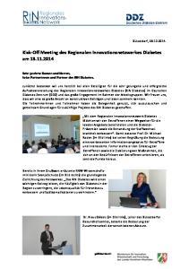 Kick-Off Meeting des Regionalen Innovationsnetzwerkes Diabetes am
