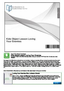 Kids Object Lesson Loving Your Enemies