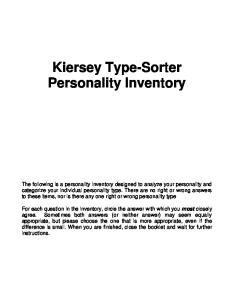 Kiersey Type-Sorter Personality Inventory