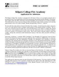 Kilgore College Fire Academy Application for Admission