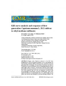 Kill curve analysis and response of first generation Capsicum annuum L. B12 cultivar to ethyl methane sulfonate