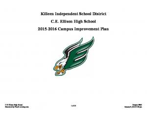 Killeen Independent School District C.E. Ellison High School Campus Improvement Plan