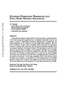KINATION-DOMINATED REHEATING AND COLD DARK MATTER ABUNDANCE