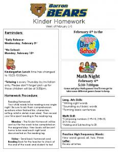 Kinder Homework Week of February 1-5