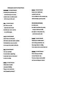 Kindergarten and First Grade Poems