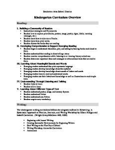 Kindergarten Curriculum Overview