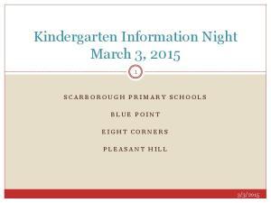 Kindergarten Information Night March 3, 2015