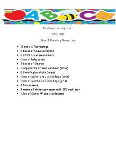 Kindergarten supply list John J. Pershing Elementary