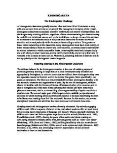 KINDERGARTEN. The Kindergarten Challenge