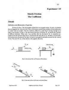 Kinetic Friction The Coefficient