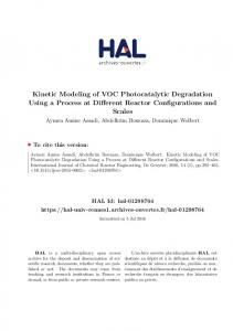 Kinetic Modeling of VOC Photocatalytic Degradation Using a Process at Different Reactor Configurations and Scales