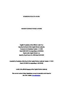KINGDOM OF SAUDI ARABIA MARKET CONDUCT REGULATIONS