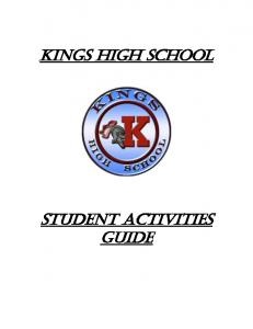 Kings High School. Student Activities Guide
