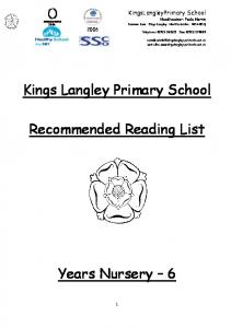 Kings Langley Primary School. Recommended Reading List