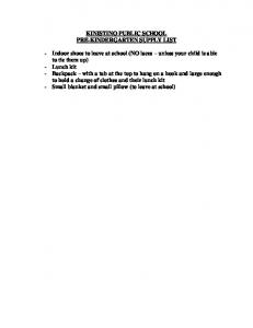 KINISTINO PUBLIC SCHOOL PRE-KINDERGARTEN SUPPLY LIST
