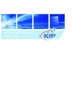 KIP 7800 TOUCHSCREEN USER GUIDE