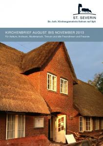 KIRCHENBRIEF AUGUST BIS NOVEMBER 2013