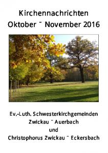 Kirchennachrichten Oktober November 2016