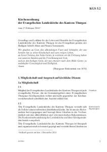 Kirchenordnung der Evangelischen Landeskirche des Kantons Thurgau