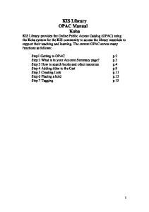 KIS Library OPAC Manual Koha