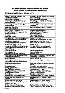KIT-relevante Begriffe, Positionen, Institute und Einheiten Terms, Positions, Institutes, and Units Relevant to KIT