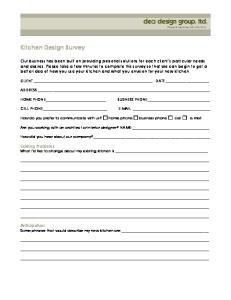 Kitchen Design Survey