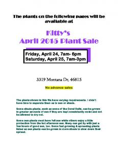 Kitty s April 2015 Plant Sale